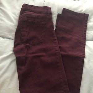 24 Tory Burch burgundy skinny jeans